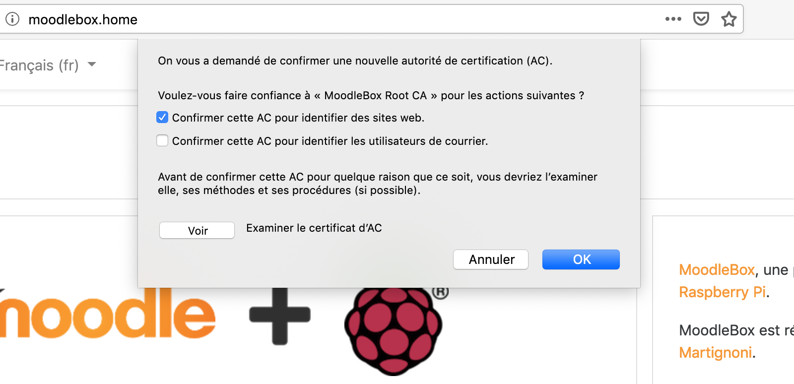 CA certificate configuration for Firefox