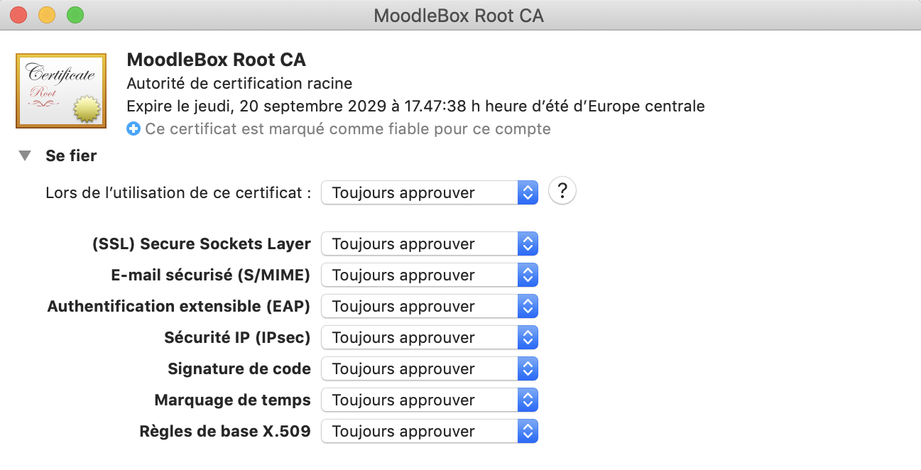 Marque H Et H moodlebox | root certificate installation on macos